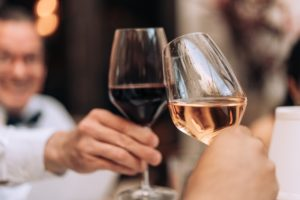 Wine glasses at a wine tasting