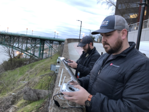 Photo of Big Slate Media team flying drones