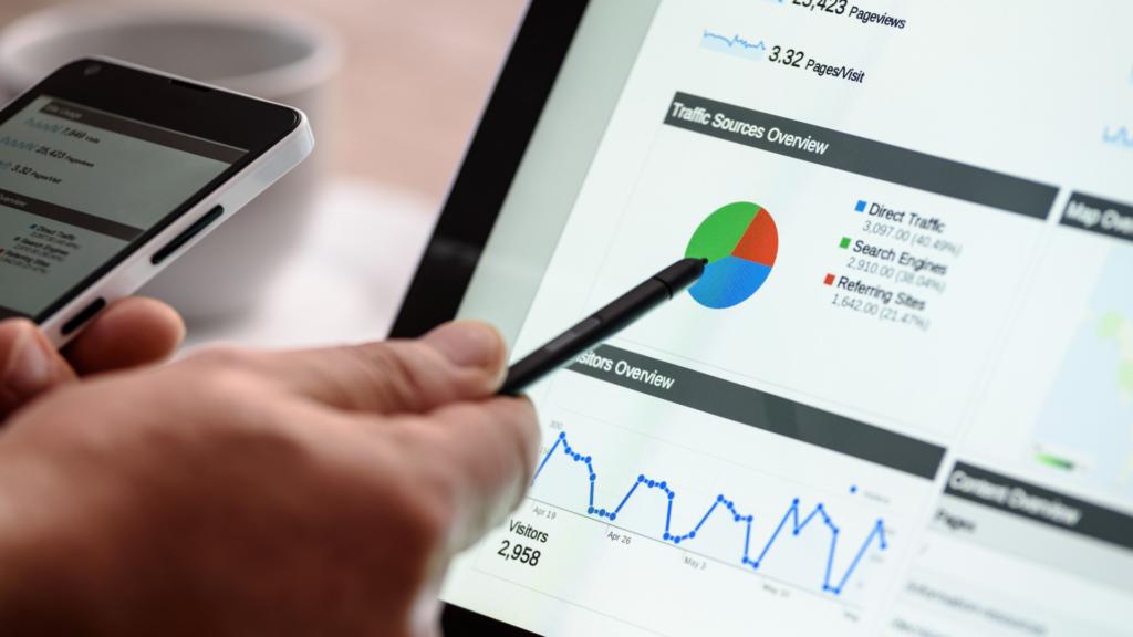 Google Analytics dashboard on tablet