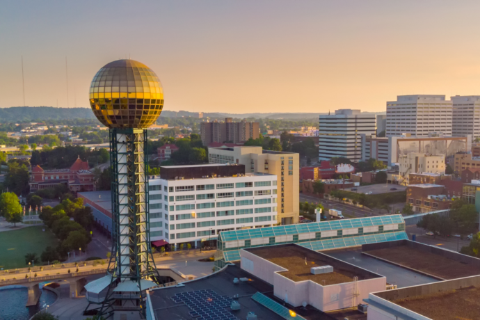 Knoxville Skyline with the sunsphere in the front