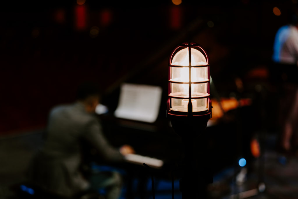 The ghostlight on stage at the Tennessee Theatre