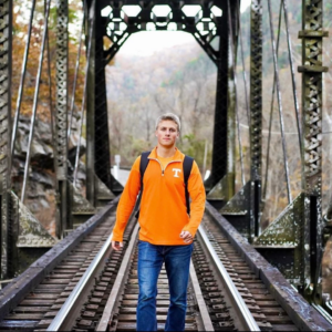 Ben Gleason on a bridge